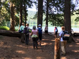 Hikers Arriver at Lower Twin Lake